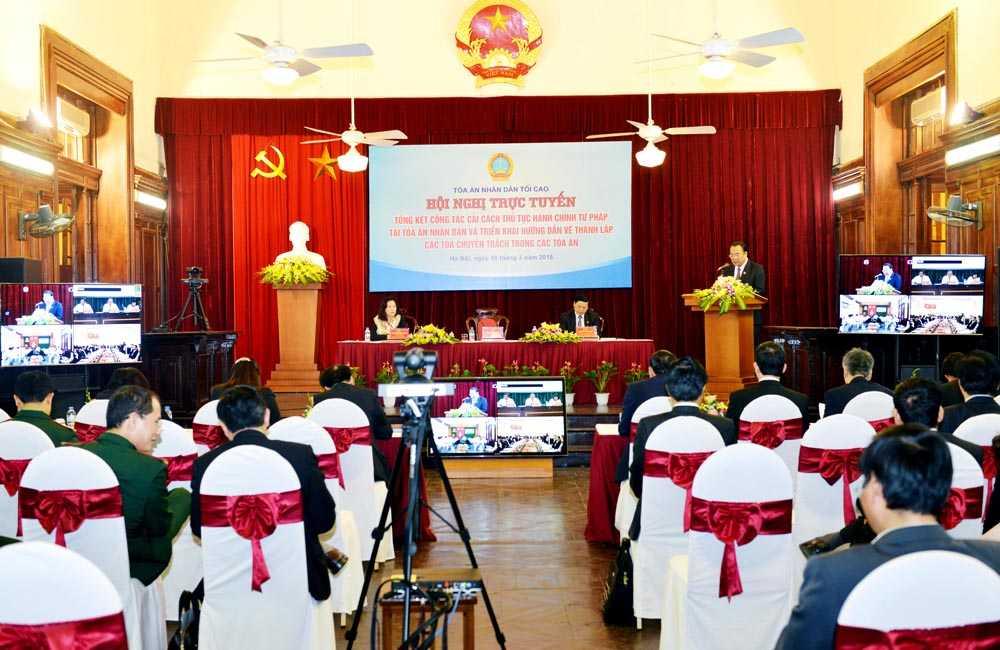 Hội nghị trực tuyến Tổng kết công tác cải cách thủ tục hành chính tư pháp tại TAND