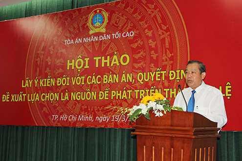 Chánh án TANDTC Trương Hòa Bình phát biểu chỉ đạo tại Hội thảo