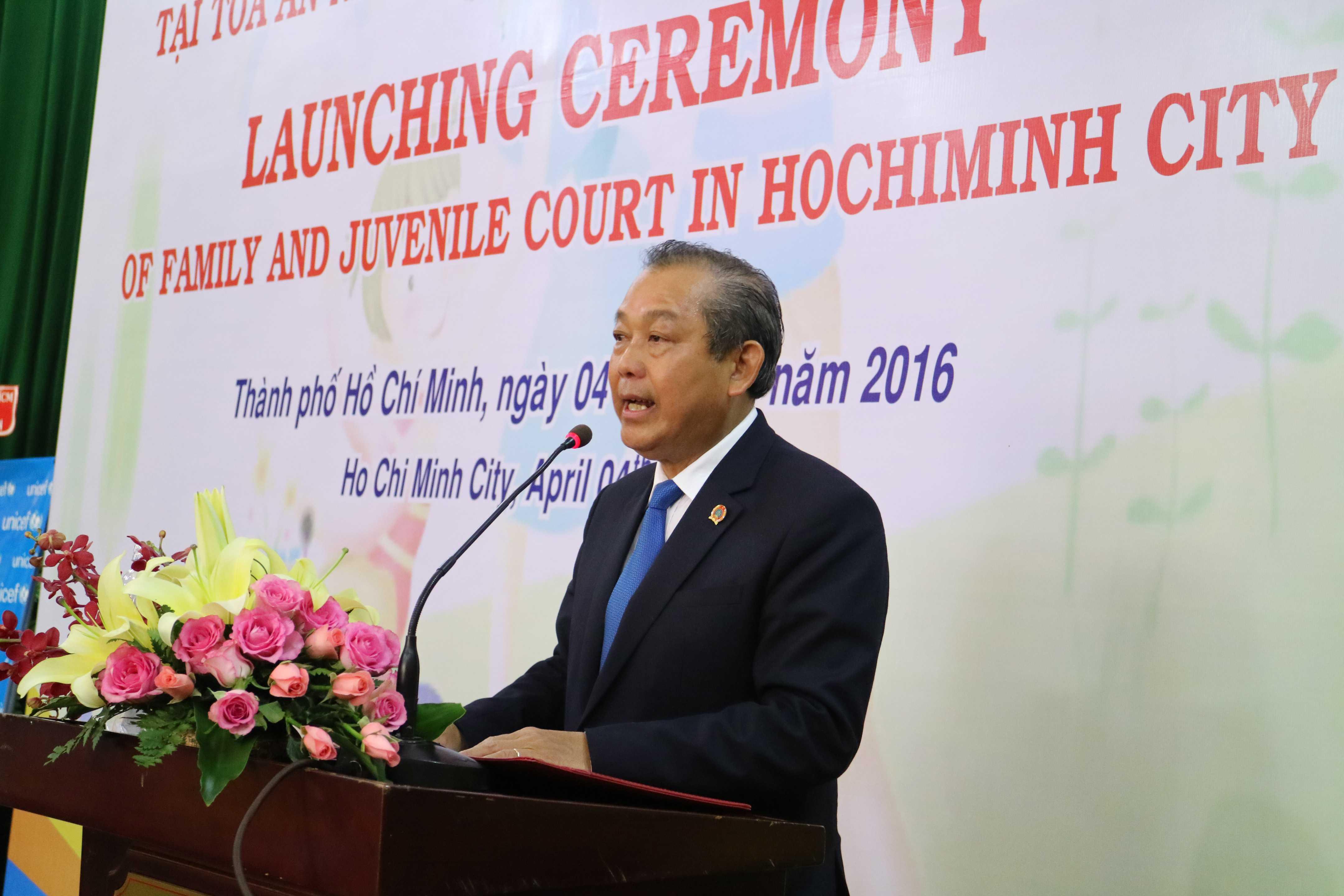 Chánh án TANDTC Trương Hòa Bình phát biểu tại Lễ ra mắt Tòa Gia đình và Người chưa thành niên thuộc TAND TP. HCM