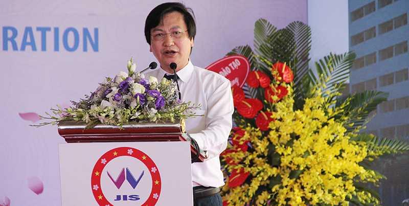 Ông Nguyễn Hữu Đức, Vụ phó Vụ Giáo dục tiểu học - Bộ GD&ĐT phát biểu mong muốn trường Quốc tế Nhật Bản sẽ phát triển lớn mạnh trong tương lai