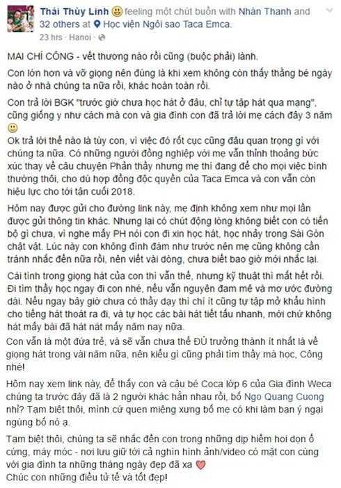 Toàn bộ chia sẻ bức xúc của Thái Thùy Linh. Ảnh: Facebook