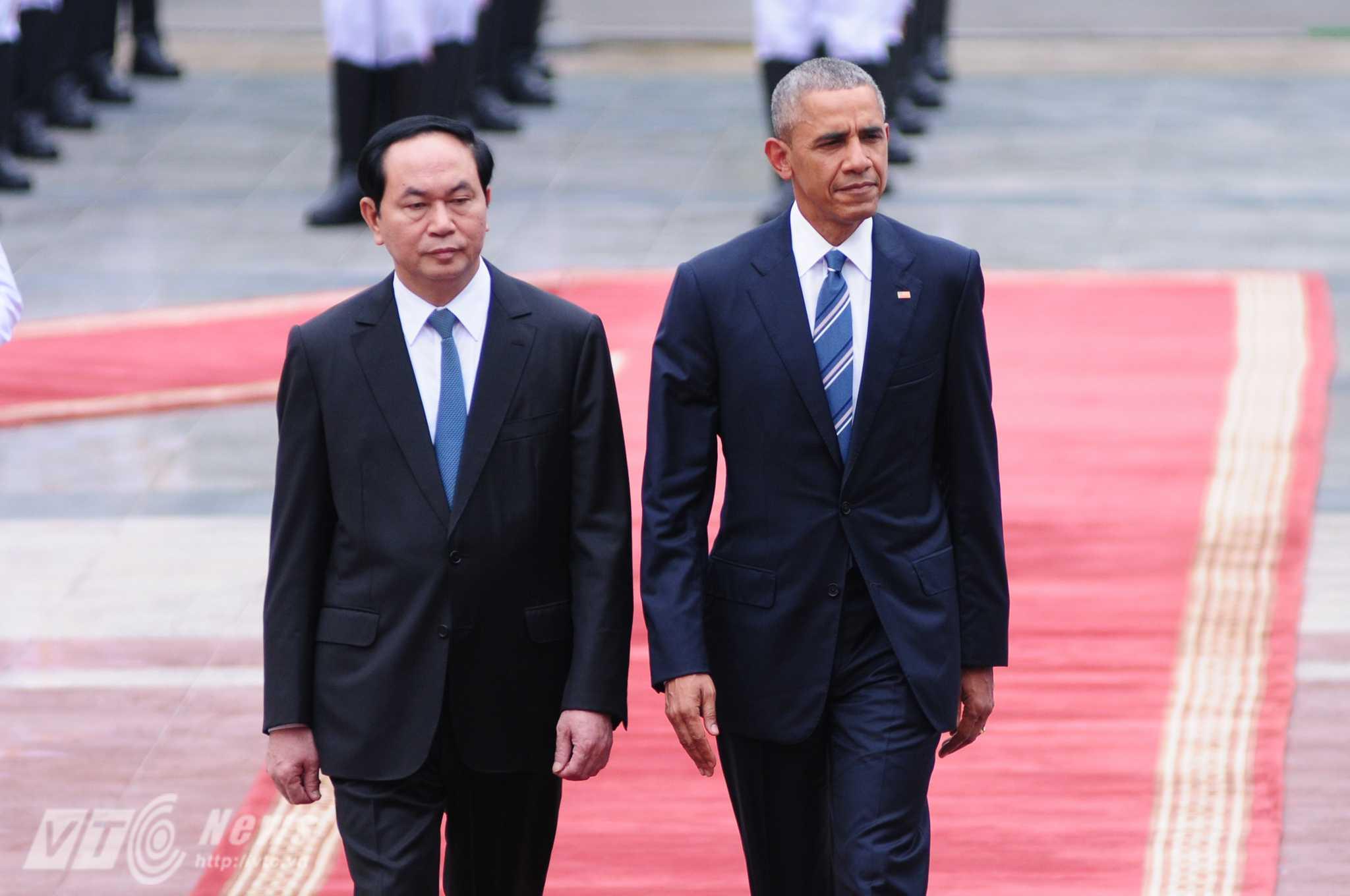 Chủ tịch nước Trần Đại Quang chủ trì lễ đón Tổng thống Obama - Ảnh: Tùng Đinh