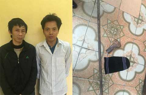 Hai đối tượng trộm két sắt tại cơ quan điều tra. (Ảnh: Công an Thanh Hóa cung cấp)