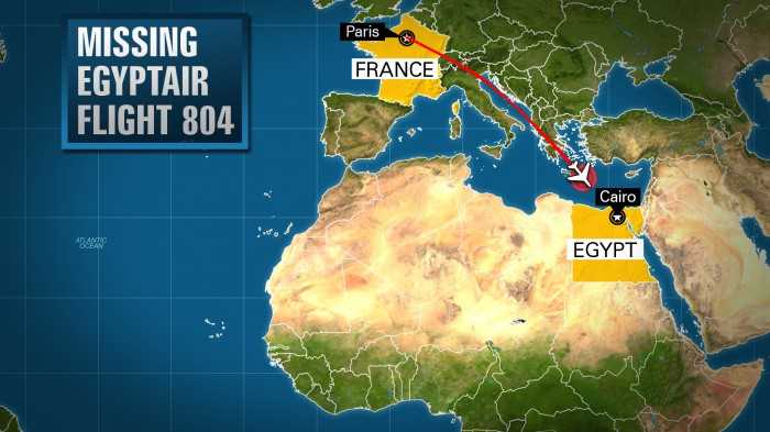 Vị trí máy bay Ai Cập mất tích