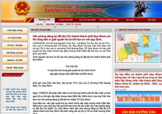 Văn phòng đăng ký đất đai - Chi nhánh TP Quy Nhơn (Bình Định) đăng thư xin lỗi người dân