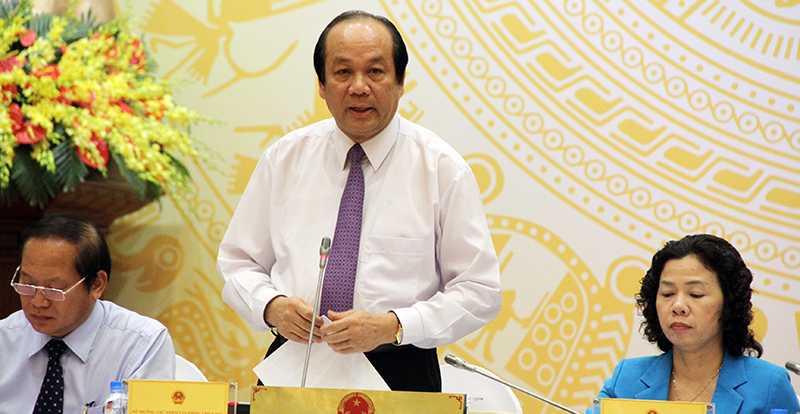 Bộ trưởng, Chủ nhiệm Văn phòng Chính phủ Mai Tiến Dũng chủ trì buổi họp báo (Ảnh: Phạm Thịnh)