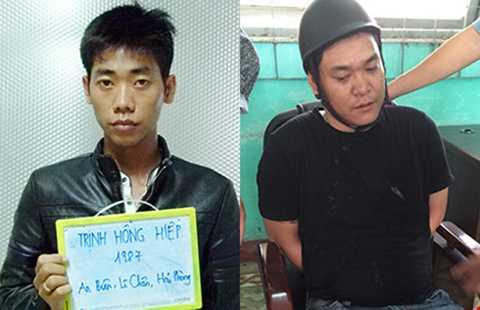 """Ảnh trái: """"Ông trùm"""" Trịnh Hồng Hiệp. Ảnh phải: Lê Quang Hòa bị bắt quả tang cùng gần 1 kg ma túy.  Ảnh  CA cung cấp"""