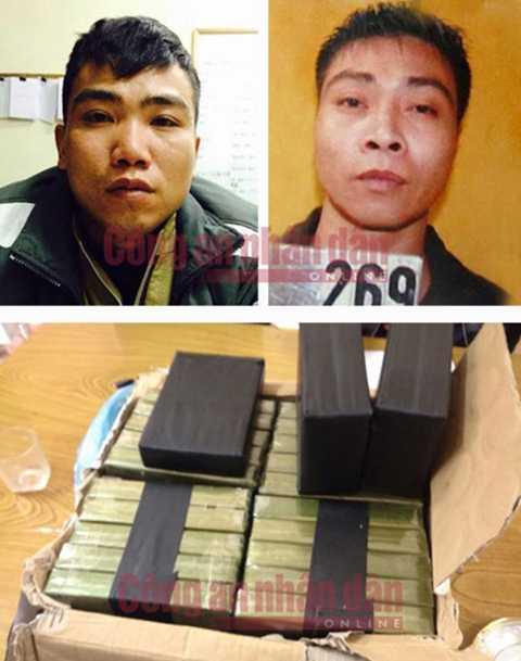 Bị can Chu Văn Viện và Chu Đình Tuyên (Ảnh trên) và hàng chục bánh heroin bị thu giữ.