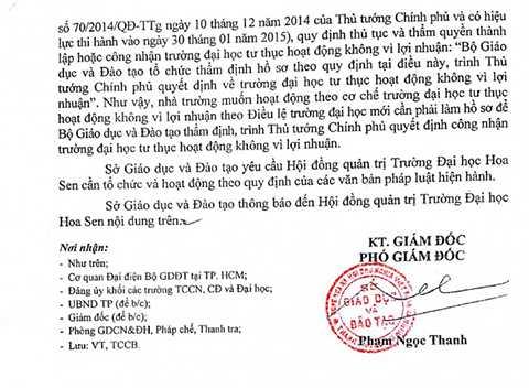 Quyết định xử phạt của thanh tra Sở GD&ĐT với ĐH Hoa Sen