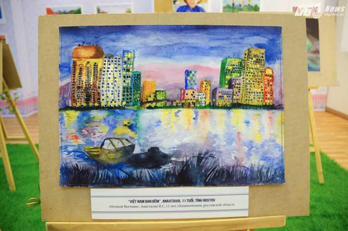 Ngoài phong cảnh làng quê, nhiều thành phố hiện đai cũng xuất hiện trong các bức tranh - Ảnh: Tùng Đinh