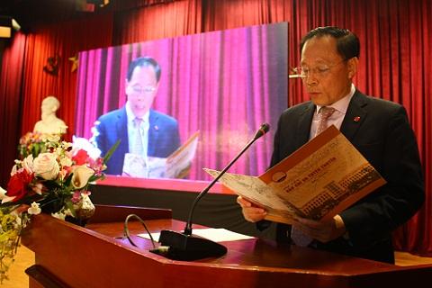 PGS.TS Trương Ngọc Nam, Giám đốc Học viện Báo chí và tuyên truyền phát biểu tại buổi lễ.