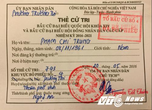 Lá phiếu của NSƯT Chí Trung.