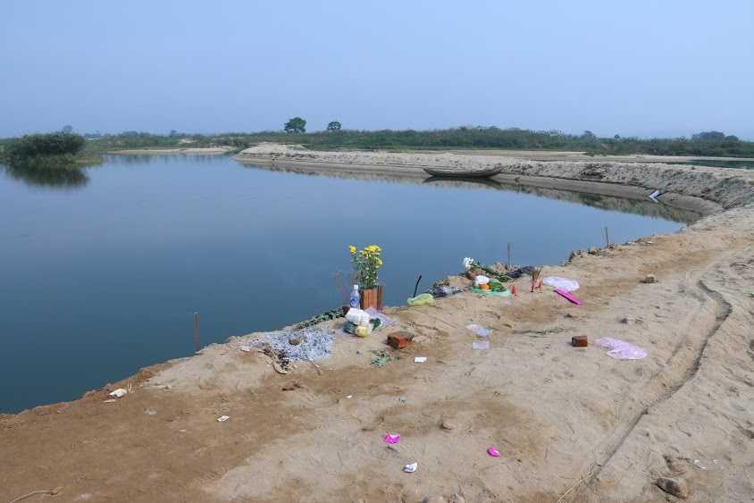 Vũng nước nơi 9 học sinh Quảng Ngãi tử nạn.