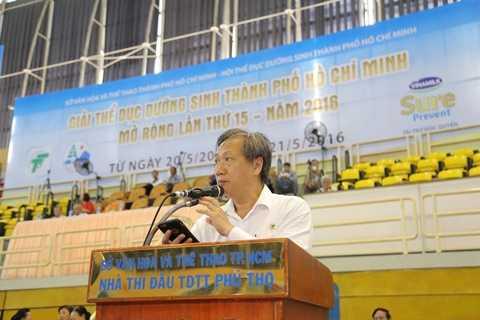 Ông Mai Bá Hùng – Phó Giám Đốc Sở Văn Hóa và Thể Thao TPHCM phát biểu tại Giải thi đấu