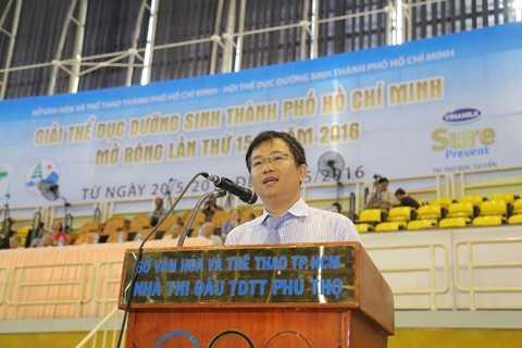 Ông Mai Thanh Việt – Giám Đốc Marketing ngành hàng sữa bột Vinamilk phát biểu tại Giải thi đấu