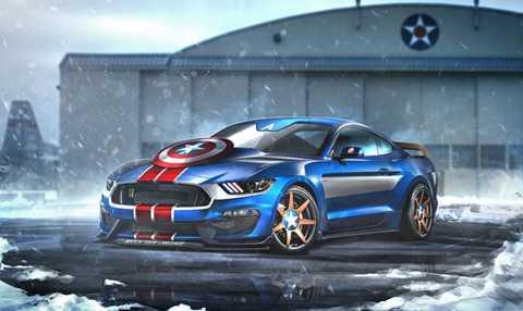 Ford Mustang GT350R của Thuyền trưởng Mỹ.   Captain America không chỉ đơn thuần là tên nhân vật. Nó còn tượng trưng   cho tinh thần Mỹ, sự phóng khoáng và tự do mà người dân Hoa Kỳ hướng   tới. Do đó, mẫu xe biểu tượng của ngành công nghiệp xe hơi Mỹ là Ford   Mustang được lấy ra làm phương tiện gắn bó với Captain America. Đầu xe   xuất hiện chi tiết khiên của Thuyền trưởng Mỹ trong khi mâm xe được cách   điệu theo vũ khí này.