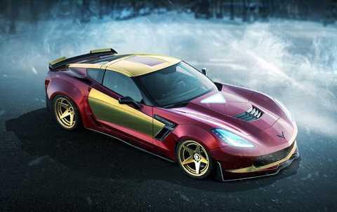 Chevrolet Corvette Z06 của Người sắt.   Iron Man có thể quen thuộc với loạt xe của Audi. Tuy nhiên, nhóm thiết   kế Car Wow cho rằng chiếc Chevrolet Corvette Z06 mới là mẫu xe lý tưởng   cho siêu anh hùng này. Toàn bộ thiết kế bên ngoài xe được thay đổi mạnh   bạo để chỉ cần nhìn thoáng qua, bất kỳ ai là fan của Iron Man cũng có   thể nhận thấy bóng dáng của thần tượng trên chiếc siêu xe Mỹ.