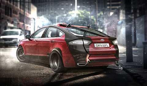 Ford Mondeo của Deadpool. Màu đỏ mận chín   đi cùng màu đen nhám đã quá quen thuộc với các fan của Deadpool trong   bộ phim cùng tên. Do đó, chiếc Ford Mondeo cũng được khoác áo mới mang   màu sắc tương tự. Đuôi xe được bố trí cặp gươm của nhân vật.