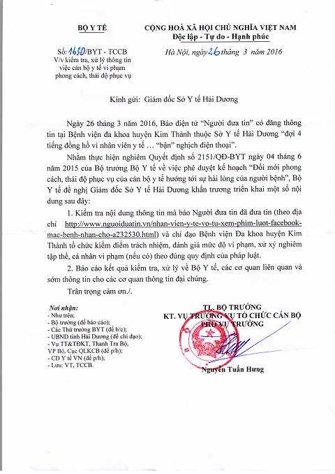 Công văn của Bộ y tế gửi Sở y tế Hải Dương yêu cầu là rõ vụ việc bệnh nhân chờ 4 tiếng vì nhân viên y tế