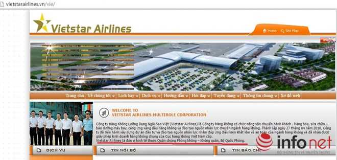Phần giới thiệt của hãng hàng không Vietstar Airlines trên trang chủ của hãng
