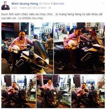 Tháng 4/2015, danh hài Minh Béo từng gây choáng cho cộng đồng mạng khi khoe chiếc mô tô với giá khủng 65.000 USD (1,4 tỷ đồng) trên trang cá nhân. Ảnh: Facebook Minh Béo.