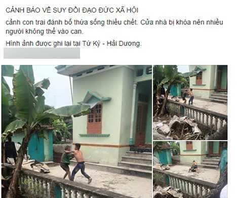 Nhiều người phản ứng gay gắt về bức ảnh được cho là con trai đánh bố ở Hải Dương (Ảnh chụp màn hình)