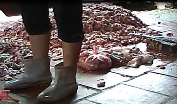 Tại cơ sở này có gần 5 tấn mỡ lợn bị bốc mùi, hôi thối đang được chế biến thành dầu ăn, trong đó mỡ chưa chế biến khoảng 3 tấn, mỡ đã chế biến thành dầu khoảng 1,1 tấn, và xáp mỡ sau khi đã nấu khoảng 500kg. Mọi nguyên liệu, dụng cụ chế biến đều vứt trên sàn nhà bẩn thỉu. Ảnh: Tiền Phong.