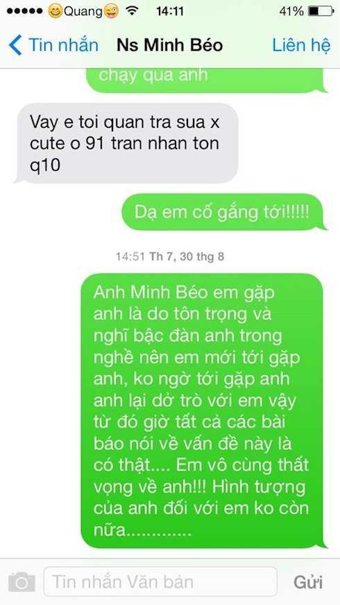 Nội dung tin nhắn giữa Minh Béo và một chàng trai.