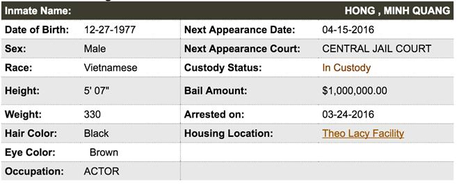 Thông tin về nghệ sĩ Minh Béo trên hệ thống nhà tù California. Ảnh chụp màn hình