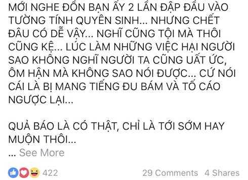 Thông tin Minh Béo hai lần tự tử vì tuyệt vọng gây xôn xao trên mạng xã hội.