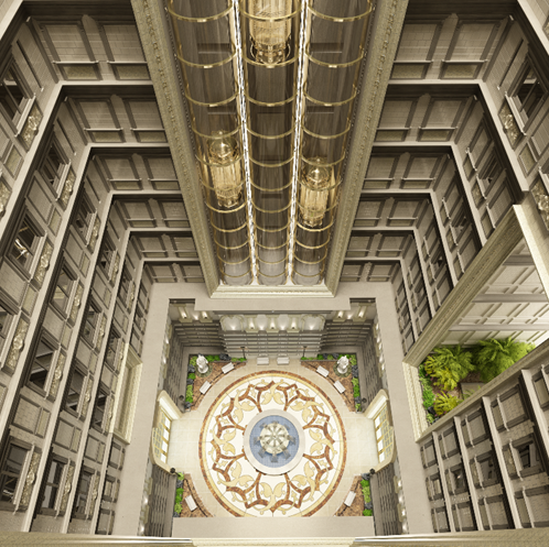 Giếng trời rộng 400m2 tại trung tâm công trình giúp đối lưu không khí thoáng đãng và cân bằng ánh sáng tự nhiên đến từng không gian nhỏ trong mỗi căn biệt thự