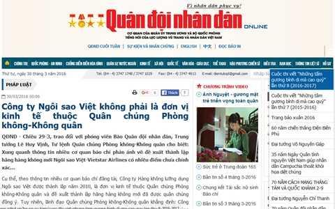 Tin ngày 29/3 trên báo Quân đội nhân dân phủ nhận thông tin Vietstar Airlines là đơn vị kinh tế thuộc Quân chủng Phòng không - Không quân