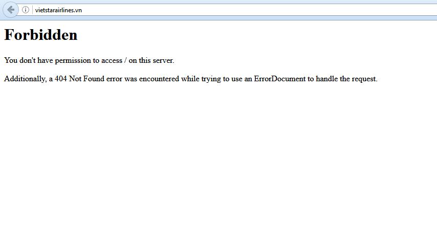 Trang web của Vietstar Airlines không thể truy cập