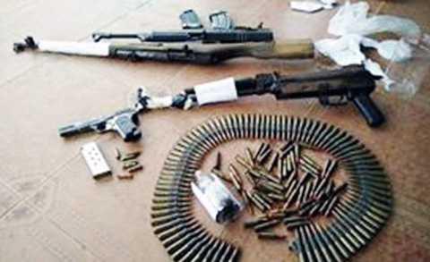 """Số lượng vũ khí """"khủng"""" Trương Ghi Ta giao nộp ở Công an Quảng Bình."""