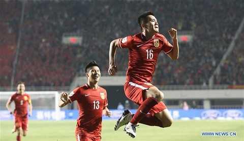 Huang Bowen (số 16) ăn mừng bàn mở tỷ số