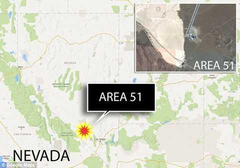 Nhờ Google Map, tại Area 51, với tọa   độ 36 ° 55'35.30