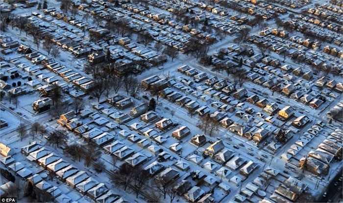 Những khu dân cư đầy tuyết phủ ở Chicago, Illinois