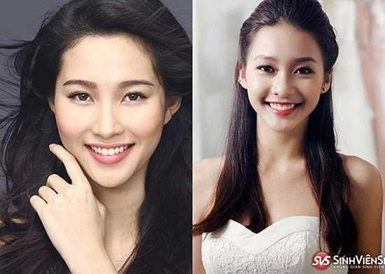 Đặc biệt khi cười, Diệp Lâm Anh và Đan Lê trông như hai chị em. Hai mỹ nhân đều sở hữu đôi mắt nhỏ biết nói và nụ cười tươi tắn.