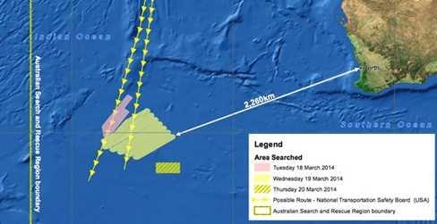 Ảnh đồ họa khu vực phát hiện mảnh vỡ nghi của MH370