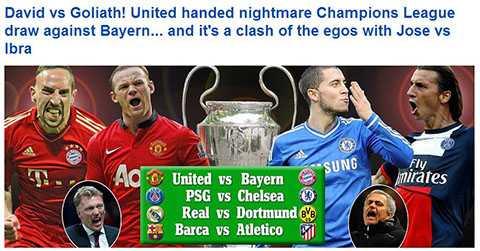 Tờ Daily Mail gọi cuộc đọ sức Man Utd - Bayern là David gặp Goliath