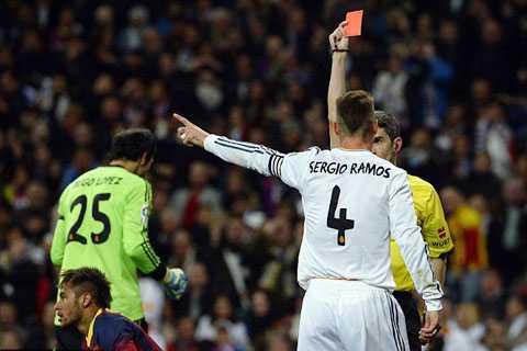 Sergio Ramos đã nhận tổng cộng 19 thẻ đỏ trong sự nghiệp
