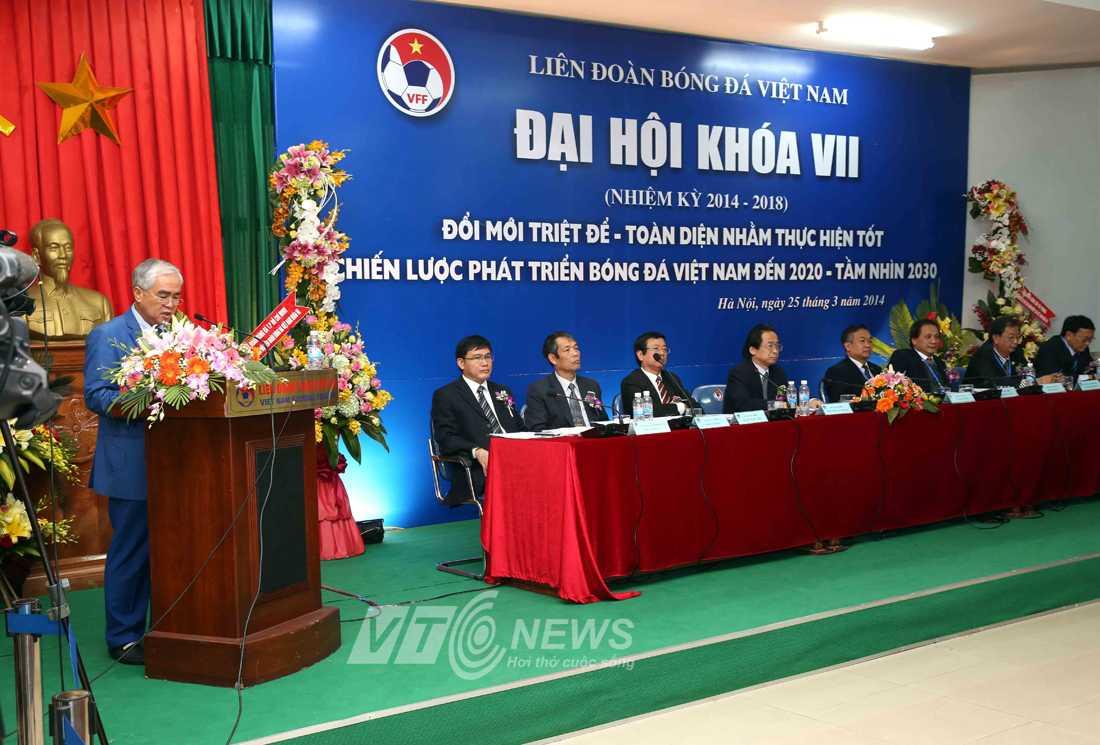 Ông Lê Hùng Dũng đọc diễn văn khai mạc Đại hội VFF khóa VII (Ảnh: Quang Minh)