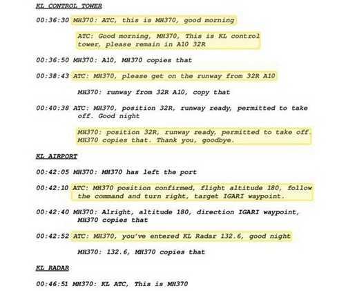 Đoạn hội thoại cuối cùng trên MH370