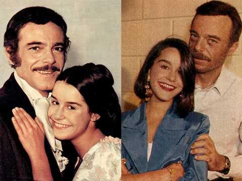 Rubens de Falco và Lucelia Santos trong phim và ngoài đời.