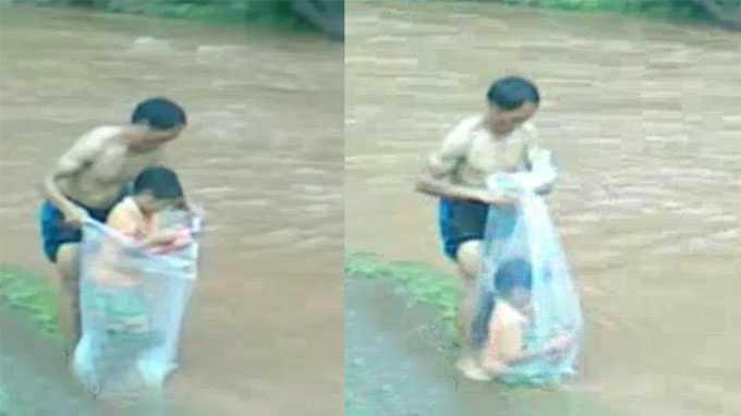 Cảnh học sinh chui túi nilon qua suối ở Điện Biên