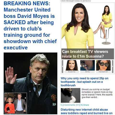 Hình ảnh David Moyes trên tờ Daily Mail