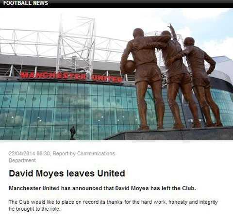 Man Utd chỉ dùng 33 chữ để viết về thông tin sa thải David Moyes