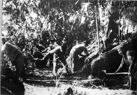Gian nan mở đường kéo pháo vào Điện Biên Phủ (ảnh tư liệu)