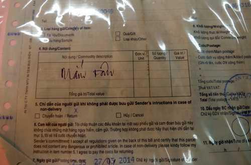 Hoá đơn gửi hàng được khai báo là mắm tôm.Ảnh: H.Q