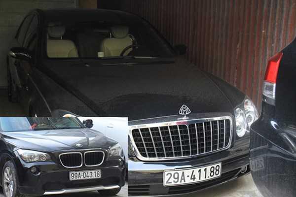 Chiếc Maybach 57S và chiếc chiếc BMW X1 đều đeo biển giả